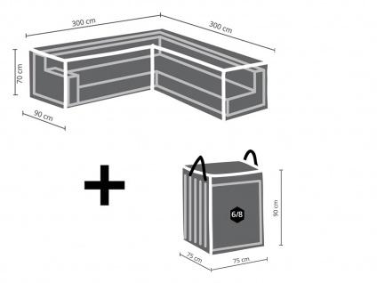 Abdeckung 300x300cm für Garten Lounge Set L-förmig + Schutzhülle für 6-8 Kissen - Vorschau 2