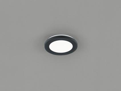 Kleine LED Deckenleuchte CAMILLUS flache Badezimmerlampe Rund Ø17cm schwarz IP44