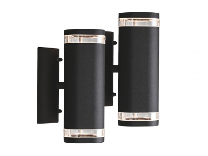 2er-Set Aluminium Up-Down Wandleuchte schwarz GU10 H. 23, 5cm Fassadenbeleuchtung