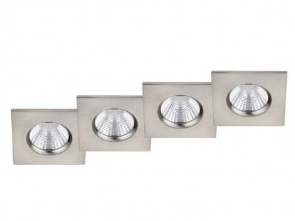 LED Einbaustrahler Decke 4er Set eckig dimmbar Nickel matt 5, 5W - Deckenleuchten