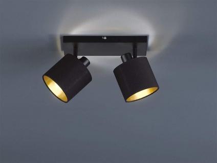 LED Deckenstrahler 2 flammig schwenkbar mit Stoffschirm in schwarz gold Wandspot