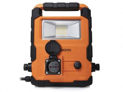 20Watt LED Baustrahler mit Steckdose & 2fach IP Stecker, Arbeitsleuchte Baulampe - Vorschau 3