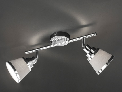 Design LED Deckenstrahler Lampenschirm Stoff 2 Spots schwenkbar Wohnzimmerlampen