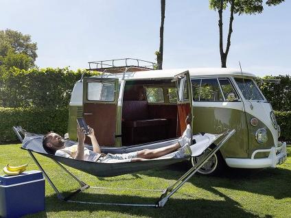 2 Stück OUTDOOR Liegen mit Hängemattengestell klappbar für Camping Balkon Garten - Vorschau 3