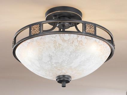 Rustikale runde Deckenlampe mit Glas Ø 42cm - Kolonialstil fürs WohnzimmerLampen