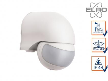 Aufputz Bewegungsmelder, weiß 12m/200°, Lux und Zeitintervall einstellbar, IP44