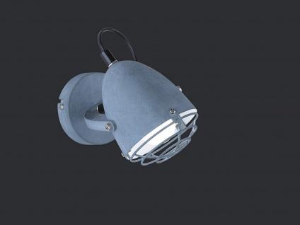 RETRO Design Wandstrahler 1 flammig Metallschrim mit Gitter Betonfarbig Ø10cm