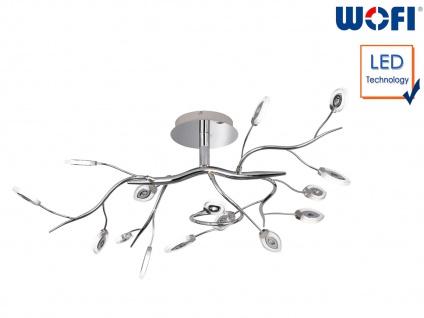 LED Deckenleuchte Chrom 32 Watt Blattdesign, Wohnraumleuchte Designleuchte