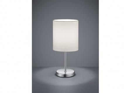 Klassische Tischleuchte JERRY 1 flammig Chrom Stoffschirm in Weiß, 28cm hoch
