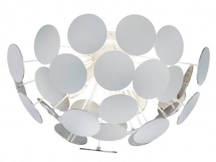 Edle LED Deckenleuchte Lampenschirm Weiß matt / Silber Ø 54cm - Wohnzimmerlampen