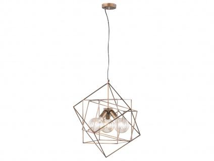 Retro Pendelleuchte mit käfigartigem Schirm Braun/Gold 3x E27 - Esstischlampen