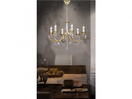 Designklassiker Kronleuchter Lüster Messing Glas 6 flammig Ø62cm Kerzen stehend