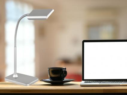 Moderne LED Schreibtischleuchte flexibel & biegsam PICO in Silber, 28cm hoch