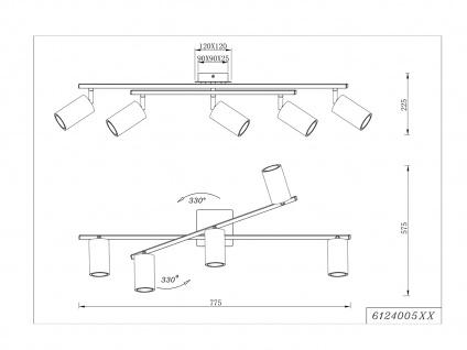 Bürolampe mit 5 Schwenkbaren Deckenspots aus Metall, Wohnraumleuchte Nickel matt - Vorschau 4