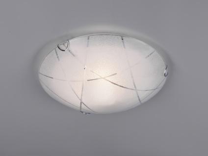 Exklusive Deckenschale Ø50cm Glasschirm in weiß mit Streifendekor, Flurleuchte
