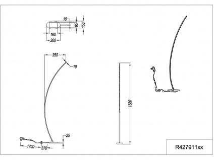 Kleine LED Standleuchte gebogen SOLO Metall Godlfarbig Höhe 158cm Ausladung 35cm - Vorschau 4