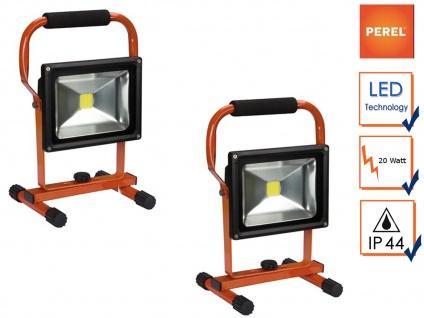 2er Set tragbare 20W LED Baustrahler mit Akku, Fluter Arbeitsleuchten Baustelle