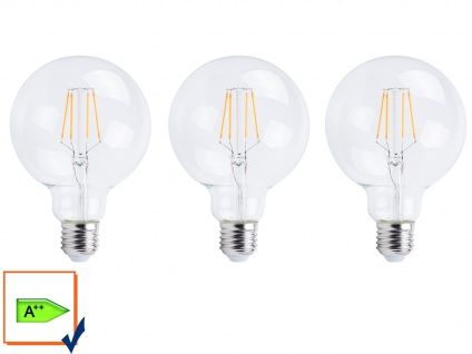 3er-Set FILAMENT LED Leuchtmittel Globe E27, 6 Watt, 806 Lumen, 2700K, warmweiß