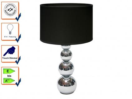 Elegante DEKO Lampe mit Touch dimmbar Stoffschirm Schwarz, Nachttischleuchte