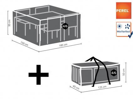 Abdeckhauben Set: Abdeckung für Gartenmöbel 185x150cm + Schutzhülle 4-6 Kissen