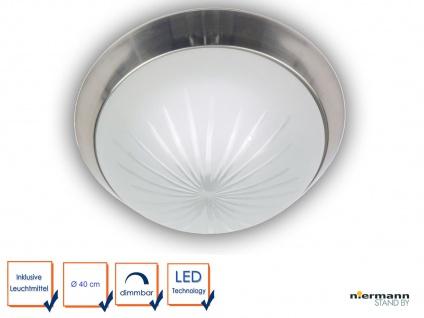 LED Deckenlampe Flurlampe Ø40cm LED Bürolampe Schliffglas satiniert Nickel matt