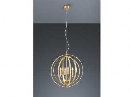 Dimmbare LED Pendelleuchte mit Metallkrone in Gold & Strassbändern, mehrflammig