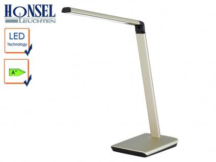 LED Schreibtischleuchte Beige Kopf neigbar Touchdimmer USB Anschluß Bürolampen