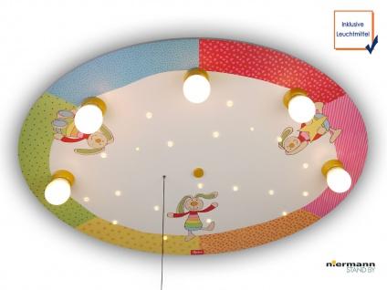 LED Kinder Deckenleuchte mit 5 LED Sternenhimmel Zugschalter für Schlummerlicht