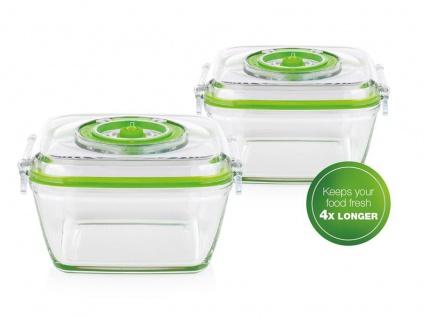 2x Lebensmittel & Flüssigkeiten Glasbehälter 0, 7 Liter für Princess Vakuumierer