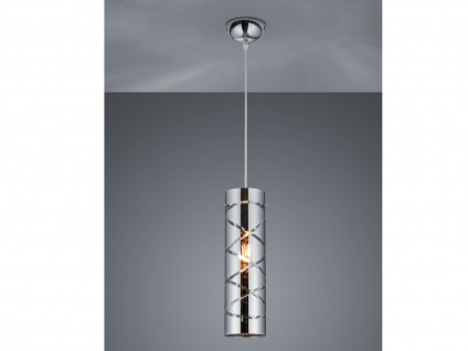 1 flammige Designer Pendelleuchte LED Lampenschirm Metall in Chrom mit Rauchglas