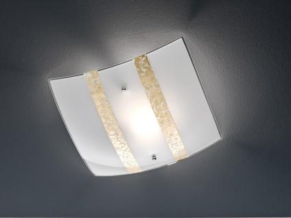 Deckenlicht 30x30cm, Lampenschirm in weiß/goldfarben dimmbare LED Dielenleuchte