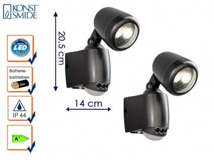 2er-LED Wandaufbauleuchte Wegeleuchte PRATO Bewegungsmelder batteriebetrieben