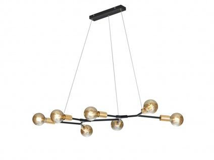 Coole 7fl. LED Pendelleuchte höhenverstellbar bis 150cm in schwarz matt/bronze