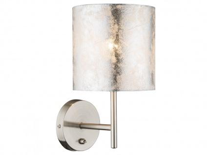 LED Wandleuchte mit Schalter, Stoffschirm silber, Wandlampe für Flur Wohnzimmer