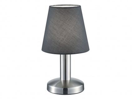 Kleine Tischlampe Stoffschirm Textil grau mit Dimmer Touchfunktion & 5W LED