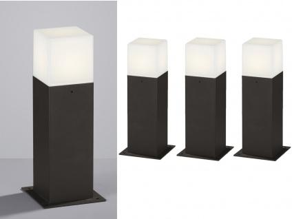 LED Sockelleuchten in Anthrazit 30cm - 3er Set Terrassenbeleuchtung Wegeleuchten