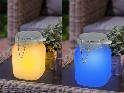 2er SET Solarlampen im Einmachglas, Solar Sonnenlicht Glas Tischleuchte Garten