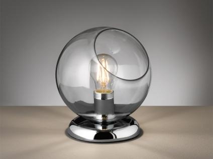 Moderne Tischleuchte rund mit Glasschirm rauchfarben Ø20cm - Nachttischlampe