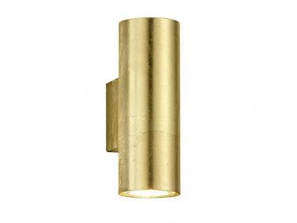 Coole Wandleuchte in gold foliert 16, 5cm Ø6cm, moderne Up & Down Dielenleuchte