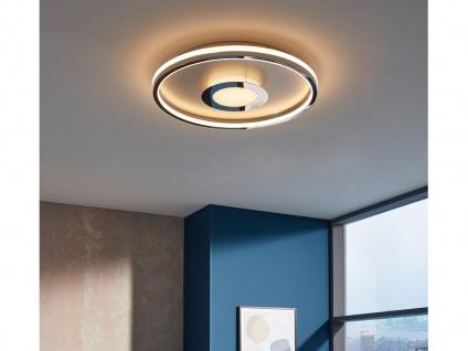 Flache LED Deckenleuchte BUG rund Ø44cm mit Fernbedienung - Silber matt & Chrom