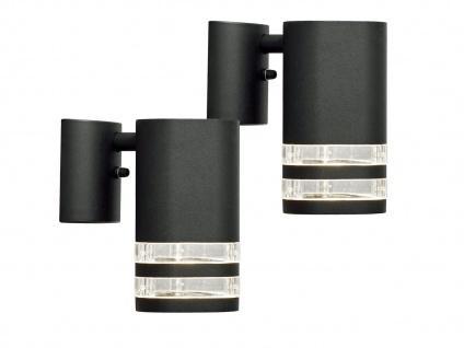 2er-Set Wandleuchten MODENA Aluminium schwarz Downlight GU10, H: 15, 5