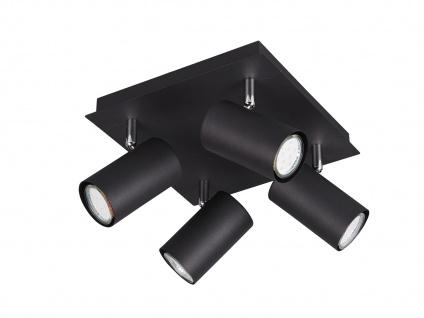 Schwenkbare 4 Spots Deckenlampe, Metall Bürolampe, Wohnraumleuchte, schwarz matt