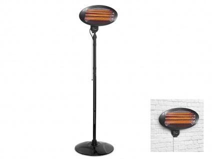 2in1 Terrassenstrahler elektrisch für Draußen - Wandheizstrahler mit Standfuß