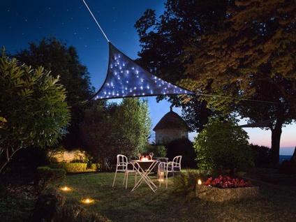 Sonnensegel 100 LED Sterne Terrassensegel für Balkon & Garten, Dreieck Blau 5, 6²