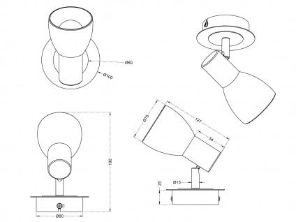 Design LED Wandlampen für Innen Messing matt mit schwenkbarem Spot & Glasschirm - Vorschau 4