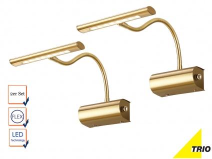 2 moderne LED Wandleuchten dimmbar mit Flexarm in Messing zeitlose Spiegellampen
