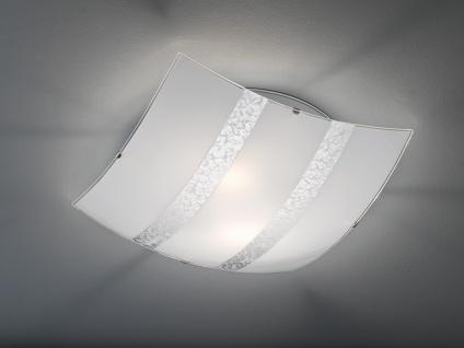 LED Deckenschale aus Glas 40x40cm DIMMBAR in weiß mit silber Streifen Flurlampe