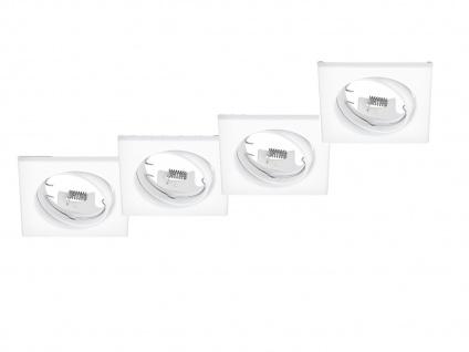 4 Einbaustrahler Decke eckig schwenkbar Weiß matt GU10 LED - Deckenbeleuchtung
