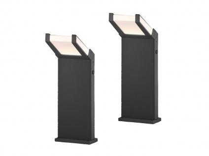 Moderne Clean Cut Pfostenleuchten im 2er SET LED Wegelampen mit Dämmerungssensor