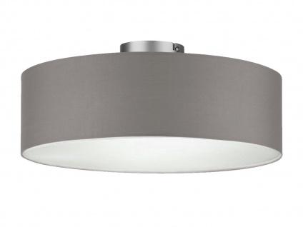 Deckenleuchte mit Stoff Lampenschirm Grau 40cm - Textil Deckenlampe Stoffschirm